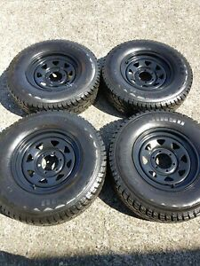 4x LT245/75R16 JINYU A/T Tyres 95%tread with Sunrise rims