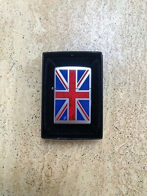 Genuine Zippo Lighter UK UNION JACK Design Brushed Chrome Exclusive Brand New