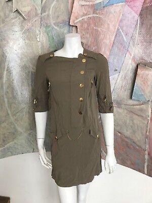 Kensie Girl Olive Gold Short Dress (Box JB) SZ XS Como Military Style