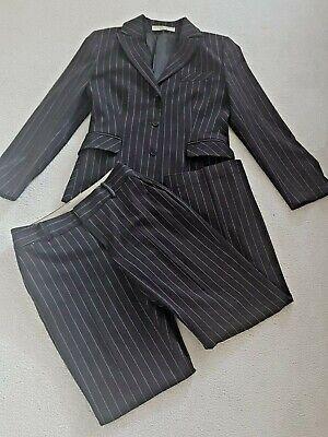 Katharine Hamnett Ladies 2 Piece Trouser Suit Size 38 Brown Striped UK 12