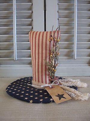 Handmade Primitive Patriotic Americana Uncle Sam Hat Shelf Sitter~Bowl Filler