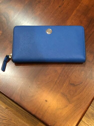 NWT Tory Burch Robinson Leather Continental Wallet Regal Blue MSRP 228