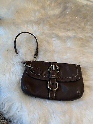 COACH Brown Leather Soho Flap Wallet Wristlet