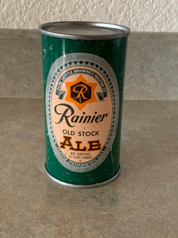Rainier Flat Top Beer Can Old Stock Ale with Orange Outline-Seattle WA