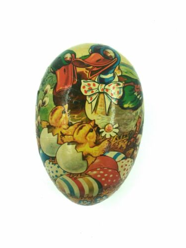 """German Antique Vintage Paper Mache Easter Egg With Duck Ducklings Large 10"""" x 7"""