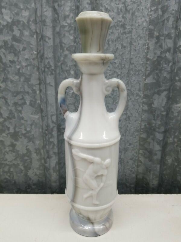 1971 Jim Beam blue milk glass bottle decanter Greek Theme Signed D-334