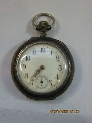 OLD Ancre Ligne Droite Chronometre 15 Rubis Silver Plated Women's Pocket Watch