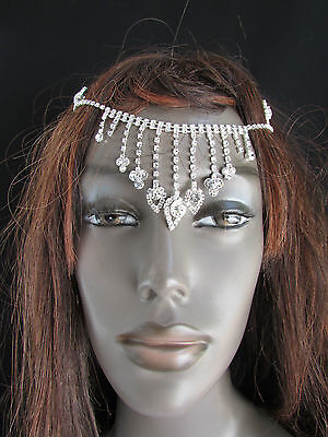 Women Silver Front Head Metal Chains Cover Fashion Hair Pin