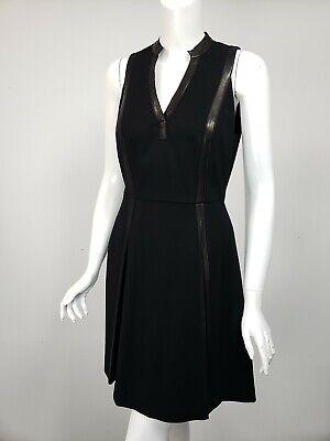 Trim Ponte Knit Dress (REBECCA TAYLOR Black Ponte Knit Leather Trim Pleated A-Line Skirt Dress sz 6)
