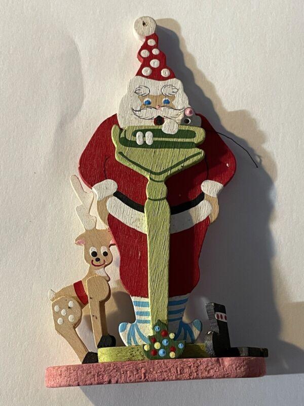 Vintage EMGEE Santa On Scale Ornament Hawaii Christmas Painted Wood