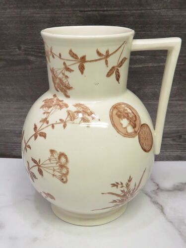 G W Turner & Sons Aesthetic Movement Brown Staffordshire Transferware Pitcher