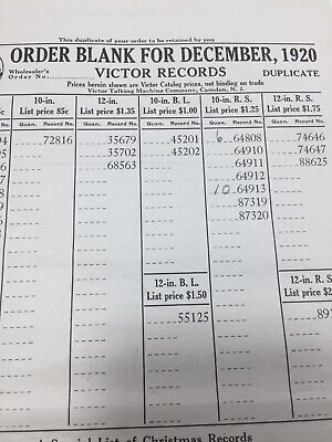 Vintage Lot Of Eight 1920 Victor Talking Machine Advance Order Forms Rare!