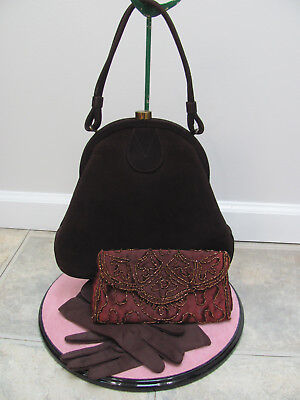 VTG 40s ROTH-MADE *BROWN SUEDE LEATHER SWING PURSE & MATCHING GLOVES $17.99