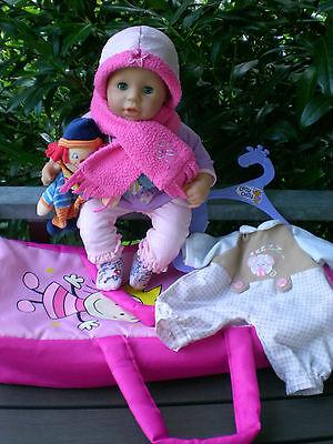 SET Zapf Puppe Chou Chou 42 cm + Tragetasche + viel Zubehör, Babypuppe, Doll