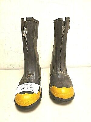 Servus Firefighter Turnout Gear Rubber Boots Zipper Steel Toe Size 8 R22