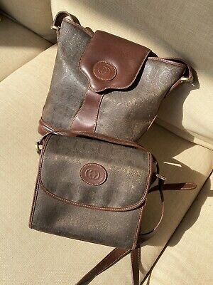 Vintage Gucci 1970-80s Green Olive gucci Print Crossbody Shoulder Bag