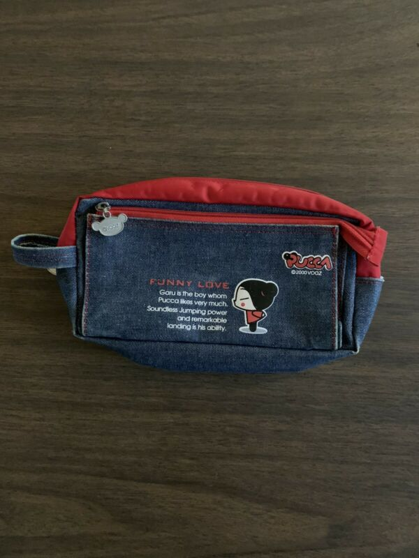 Rare 2000 Pucca Funny Love Wallet Pouch By Vooz Zip Denim And Red