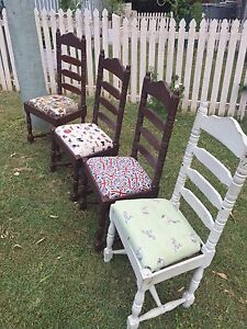 Vintage highback ladder timber chairs Moore Somerset Area Preview