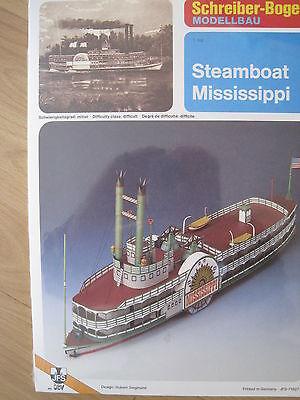 Steamboat Mississippi Raddampfer Schiff Kartonbausatz NEU Schreiber- Bastelbogen (Weiße Bau Papier)