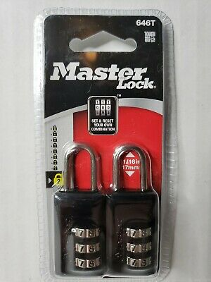 Master Lock 2 Pack Luggagebriefcase Padlock 3 Dial Combination Black 646t