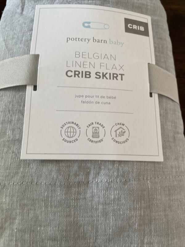 "Pottery Barn Kids Grey Belgian Linen Crib Skirt 16"" Drop New Gray"
