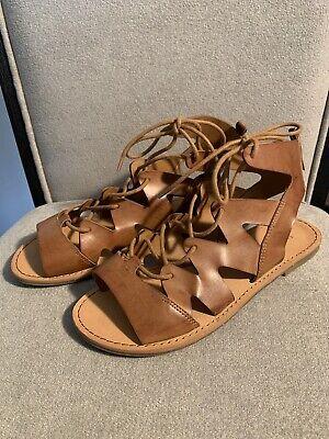 Indigo Road Gladiator Sandals Tan Brown Flats Women's Size  7.5  Very Clean!!!!