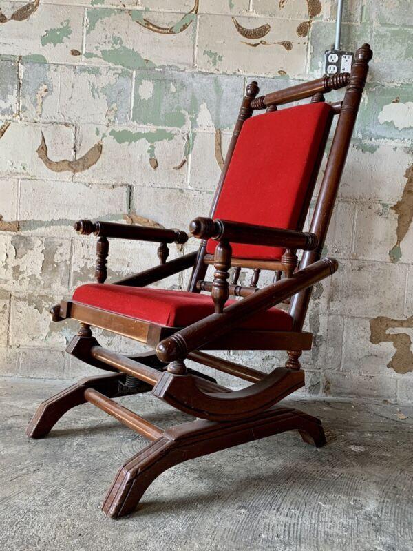 Antique Red 19th Century Victorian Glider Platform Rocking ChairSpindle 1800's