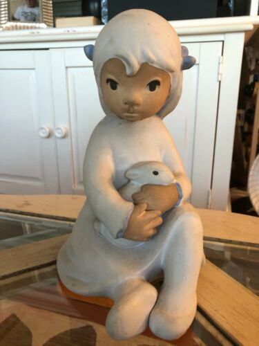 LARGE Signed E Carlock Clay figurine of Girl with bunny