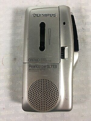 Olympus Pearlcorder S713 Microcassette Silver Voice Recorder Handheld Tested