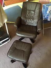 Leather Recliner armchair with foot stool Mosman Mosman Area Preview