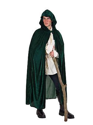 Kostüm für Erwachsene Umhang mit Kapuze Grün Einheitsgröße Karneval Kostüm
