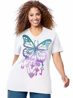 Just My Size Jms Short Sleeve T Shirt Top Tee Bedecked Butterfly   Gtj181