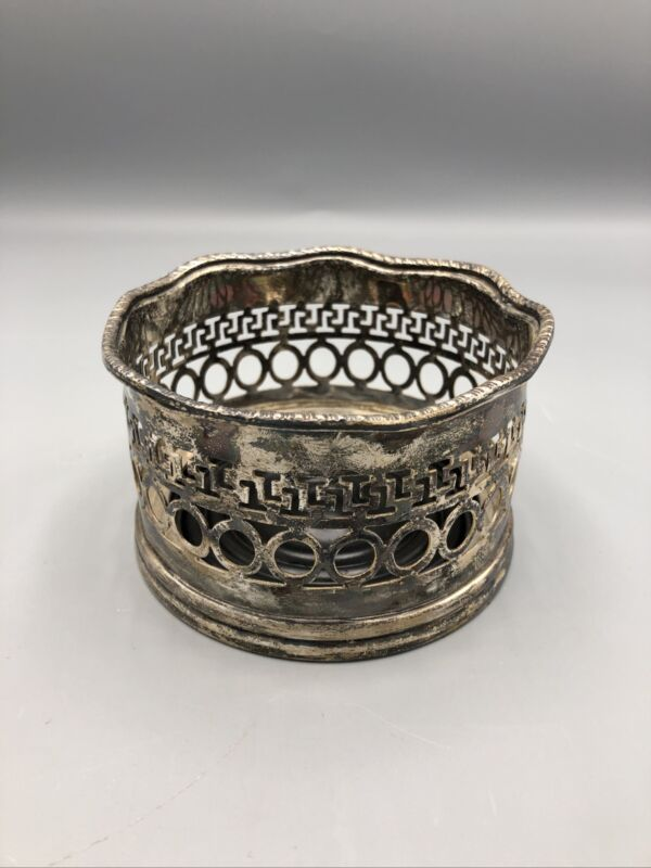 Vintage Silver Plated Ornate Wine Bottle Coaster~ Made in India