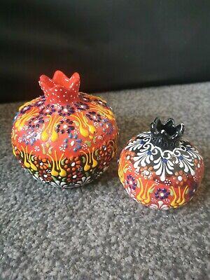 Handmade Turkish Vase / Trinket Boxes  Red Blue Black