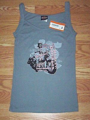 Women Ladies Medium HARLEY DAVIDSON Vintage Motorcycle Gray Tank Top Sleep Shirt