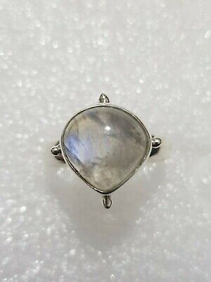 Chunky Natural Rainbow Moonstone Ring 925 Solid Silver 925 Size R1/2~S