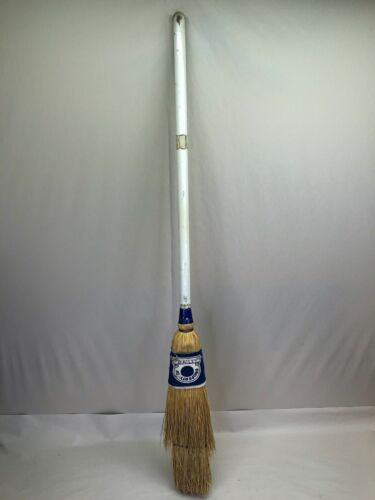 Vintage Curling Broom Rockmaster Midwestern Broom Co. Corn Straw Wood Handle