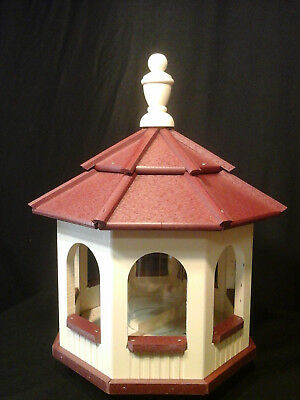 Vinyl Gazebo Bird Feeder Amish Homemade Handmade Handcrafted Ivory & Red med