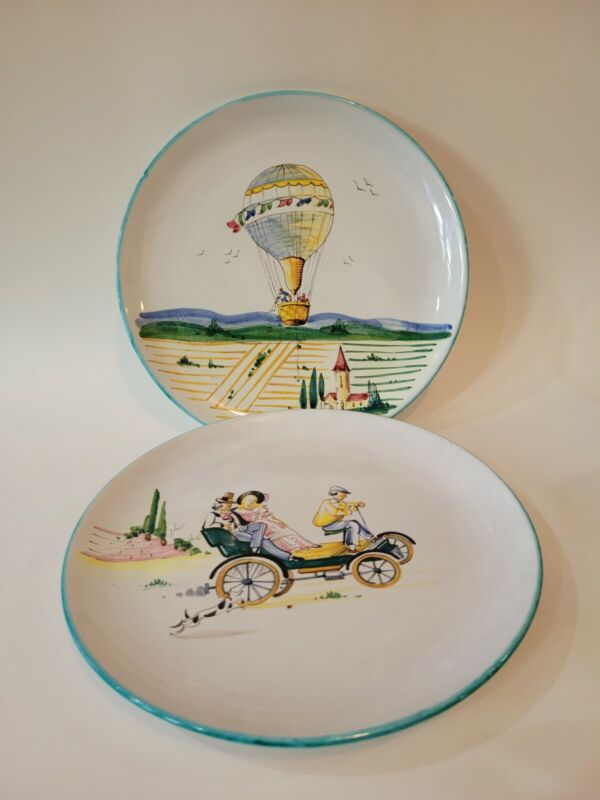 MAF Italy 633 Vintage Handpainted Plates Hot Air Balloon Carriage Ride