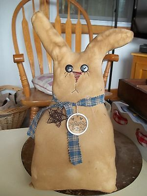 Handcrafted Tea Stained Fabric Polyfil Primitive Country Raggedy Bunny ()