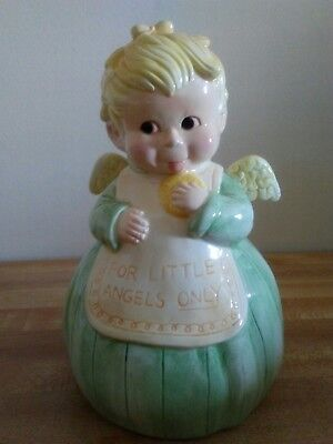 """FOR LITTLE ANGELS ONLY BANK~BABY ANGEL~7 1/2"""" TALL~EXC COND"""
