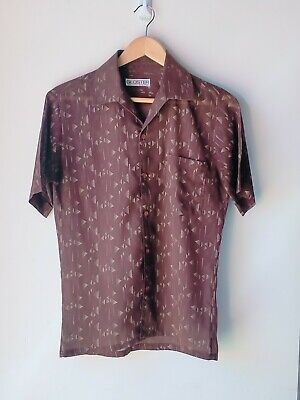 1970s Men's Shirt Styles – Vintage 70s Shirts for Guys Vintage 70's Gloster Geometric Patterned Button up Shirt.  Size Small.  $18.13 AT vintagedancer.com