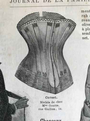 MODE ILLUSTREE SEWING PATTERN May 9,1886 - CORSET, SHAWL, DRESS