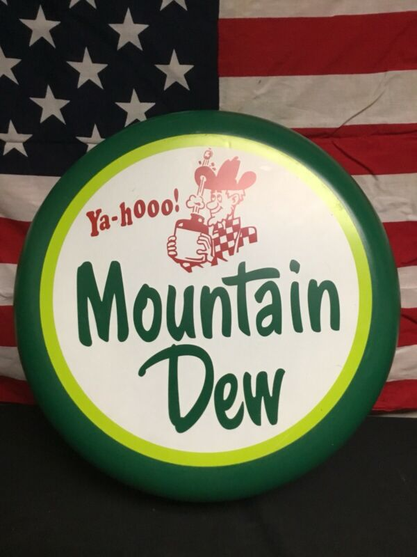 Super Rare! 1960s Mountain Dew Huge Bottle Cap Sign!