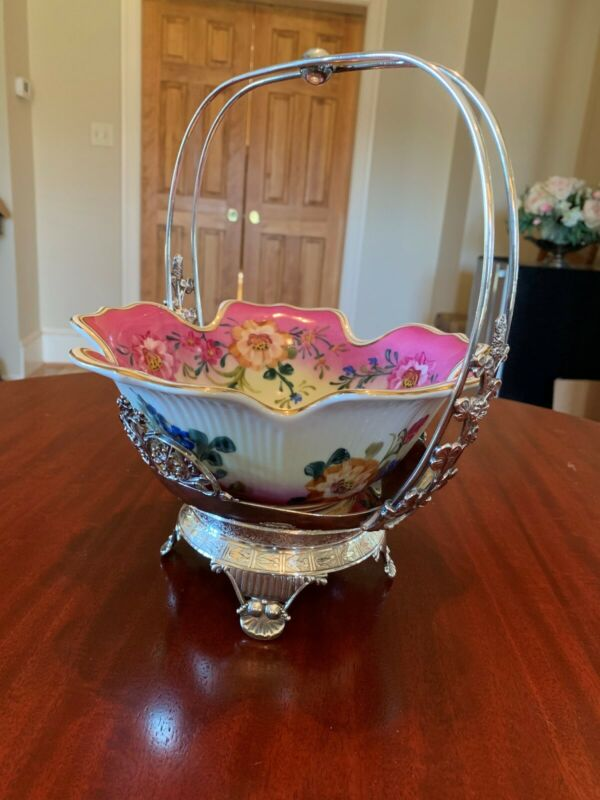ANTIQUE LIMOGES CHINA BRIDES BOWL WITH REPLATED SILVERPLATE STAND BASE