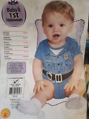 Infant 6-12m Halloween Costume 1pc Blue Jumper Police Officer Cop Unisex Dressup