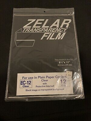 Zelar Transparency Film 8.5x11 Plain Paper Copiers Rv-12 Clear 12 Sheets