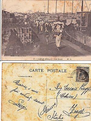 DAKAR(SENEGAL)-Les Quais-Viaggiata Piroscafo Postale Italiano