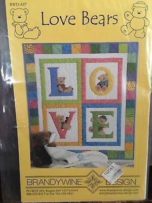 Brandy wine Design Quilt Pattern: Love Bears.