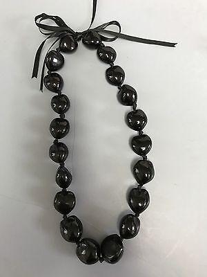 Hawaiian Black Kukui Nut Lei Chocker Boho Bead Necklace